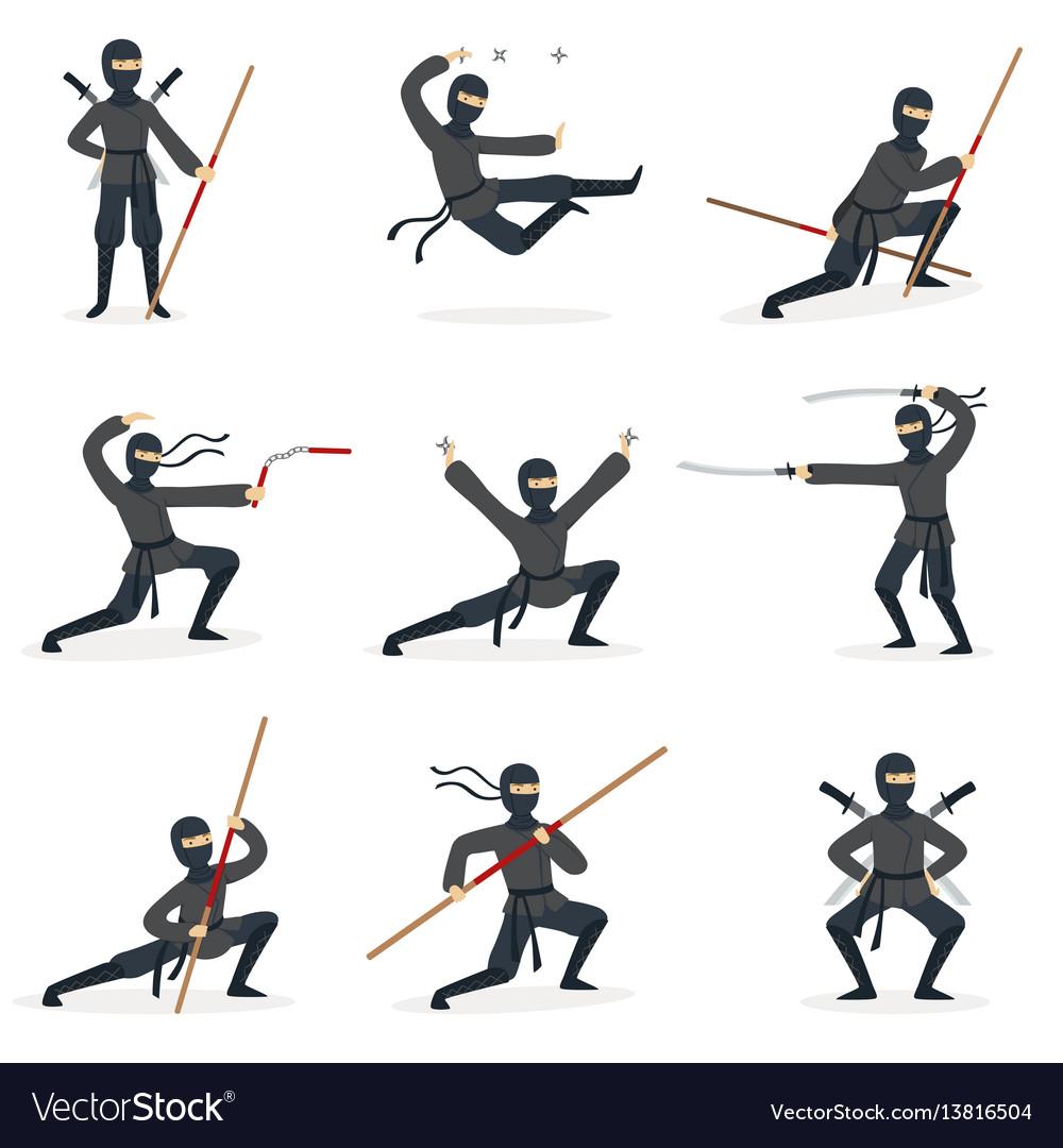 Japanese ninja assassin in full black costume vector image