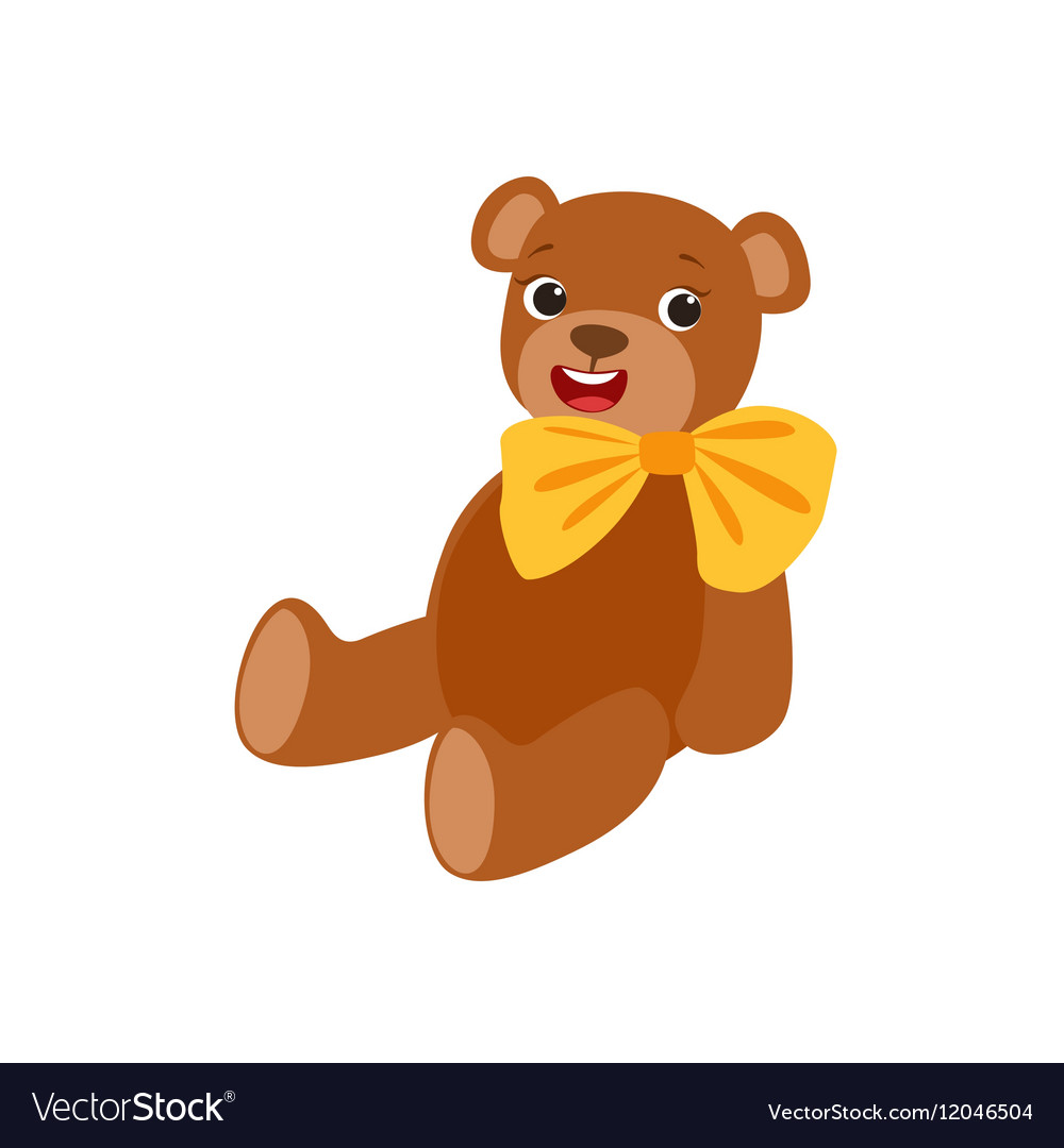 Teddy Bear With Yellow Bow Kids Birthday Party vector image