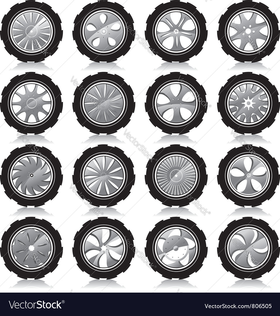Alloy wheel black vector image