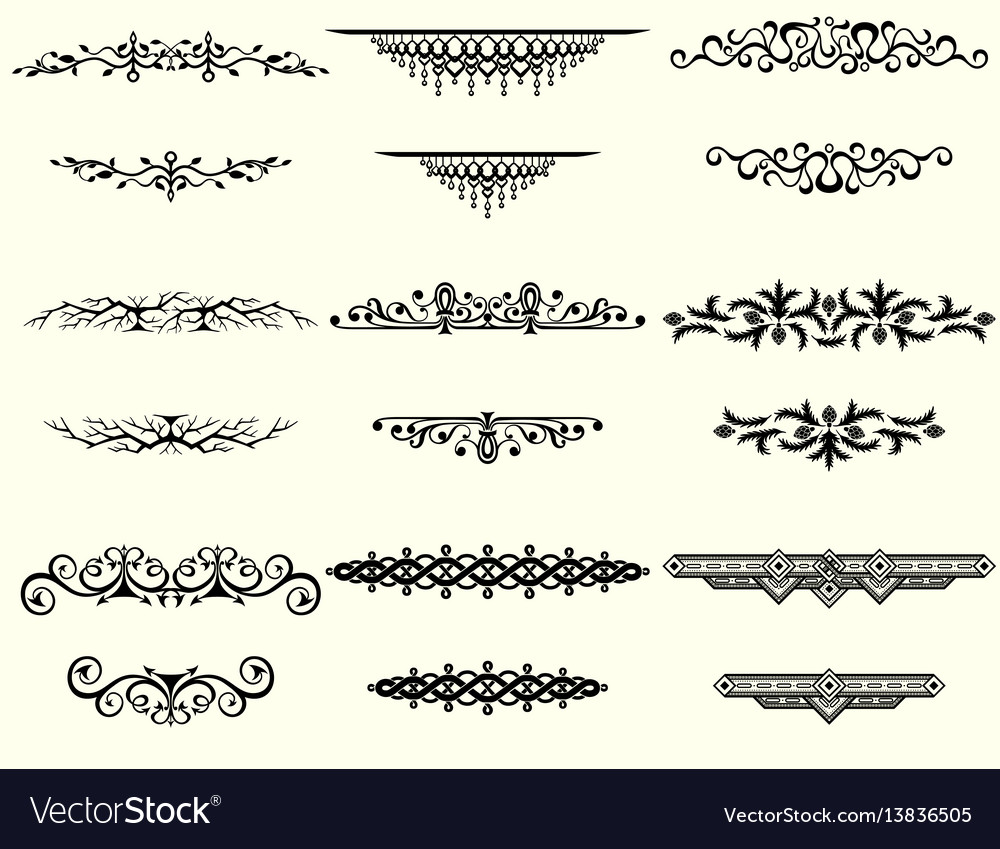 Collection of vintage frames and borders vector image