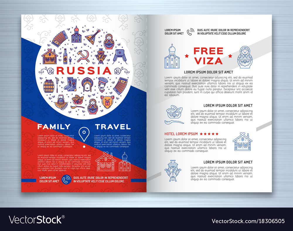 Russian Travel Brochure Template Colorful Russian Vector Image - Travel brochure template