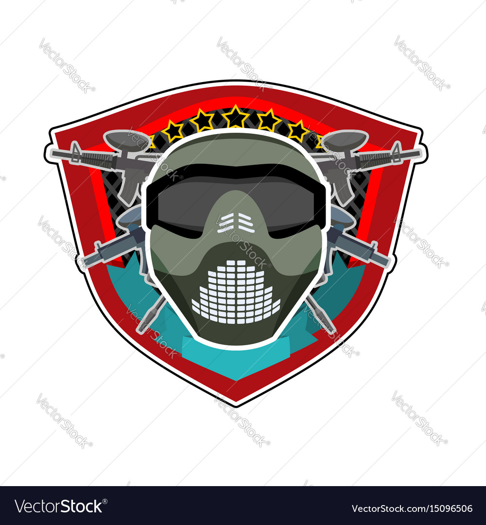 Battle logo paintball helmet and weapons military vector image