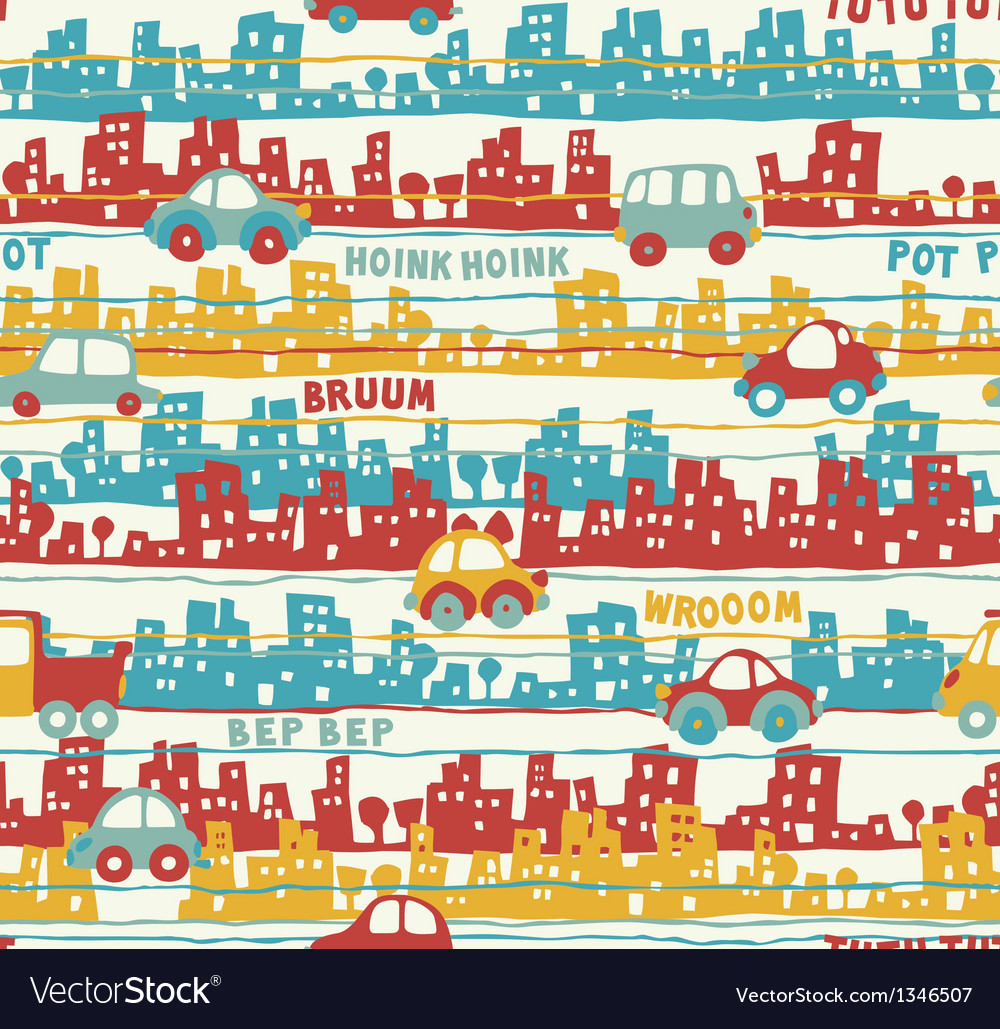 Cute urban traffic vector image