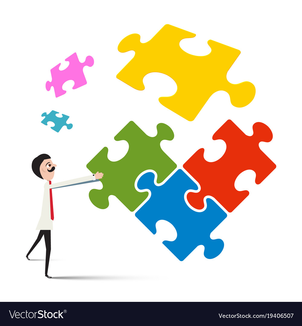 Man with puzzle isolated on white background vector image