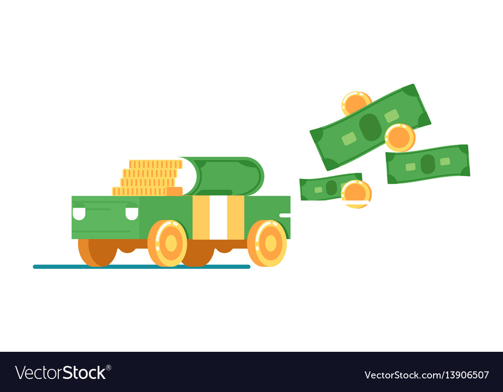 Rent or sale car service icon with money vector image