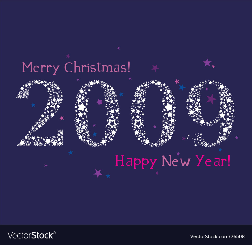 2009 stars new year vector image