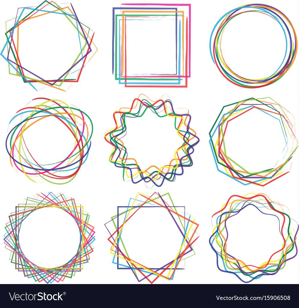 Line shape art frame set 04 vector image