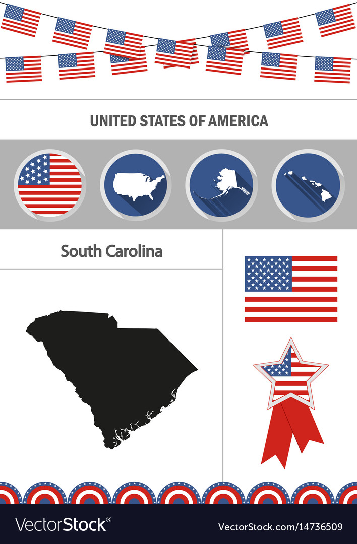 Map of south carolina set of flat design icons vector image