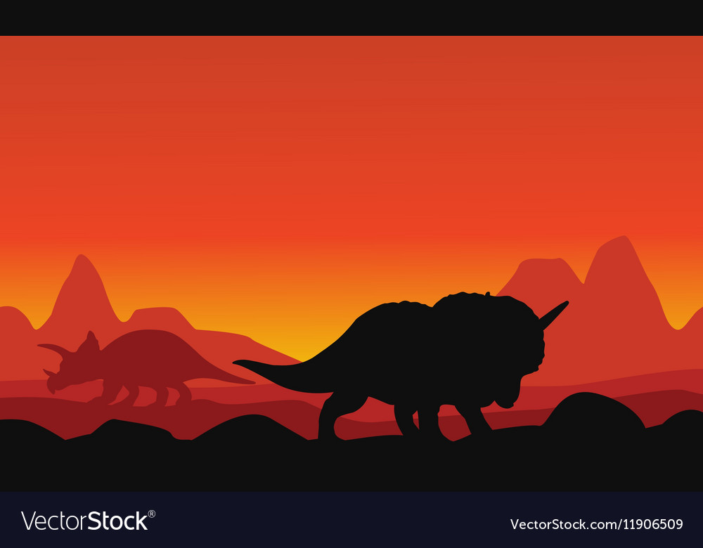 Silhouette of dinosaur triceratops with mountain vector image