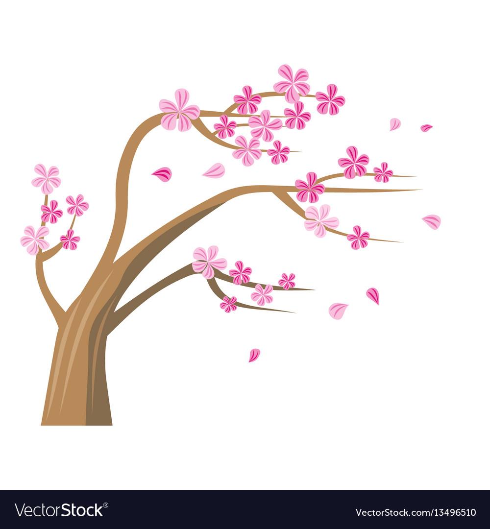 Sakura tree with pink flowers vector image