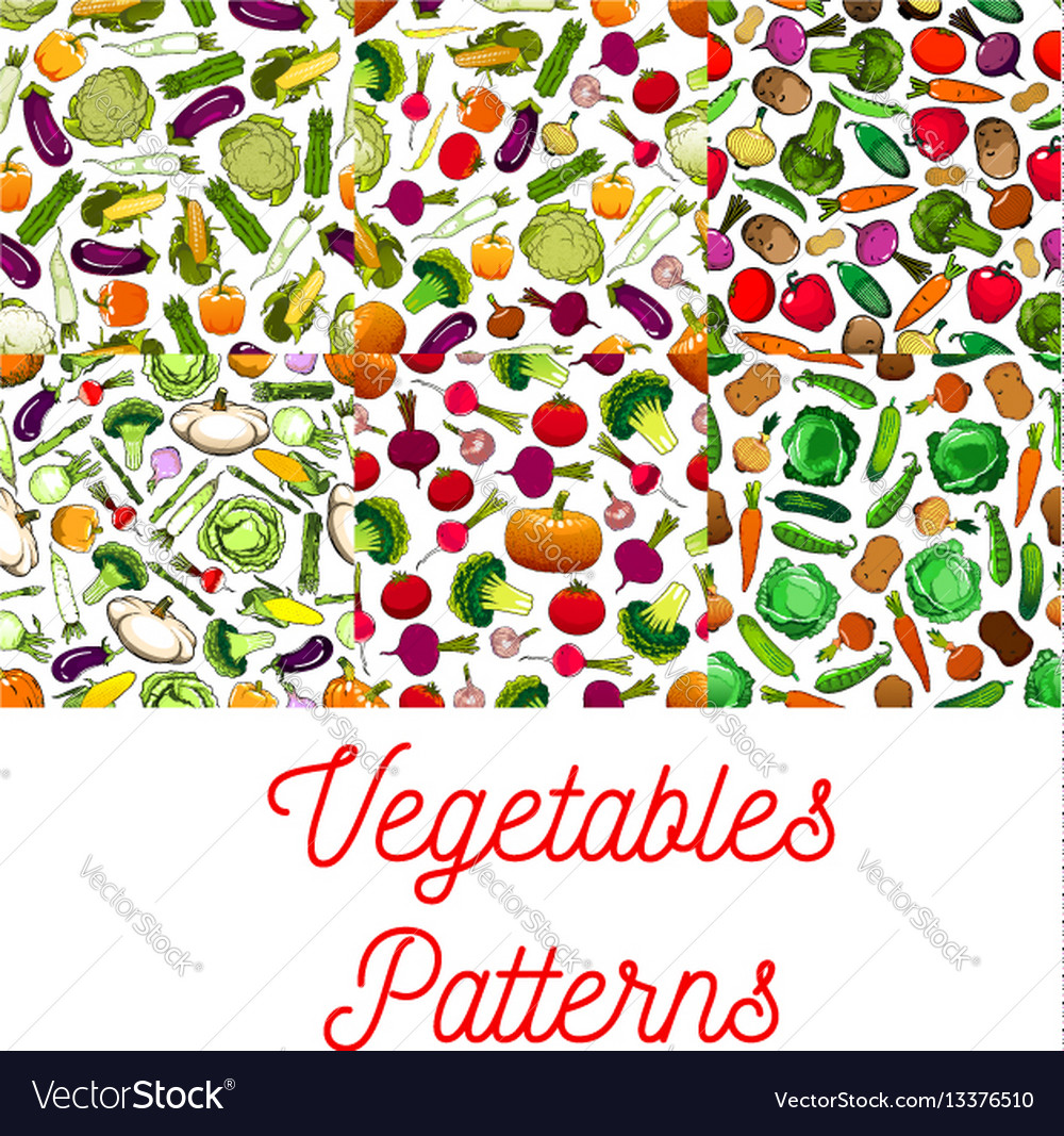 Vegetables vegetarian seamless patterns set vector image