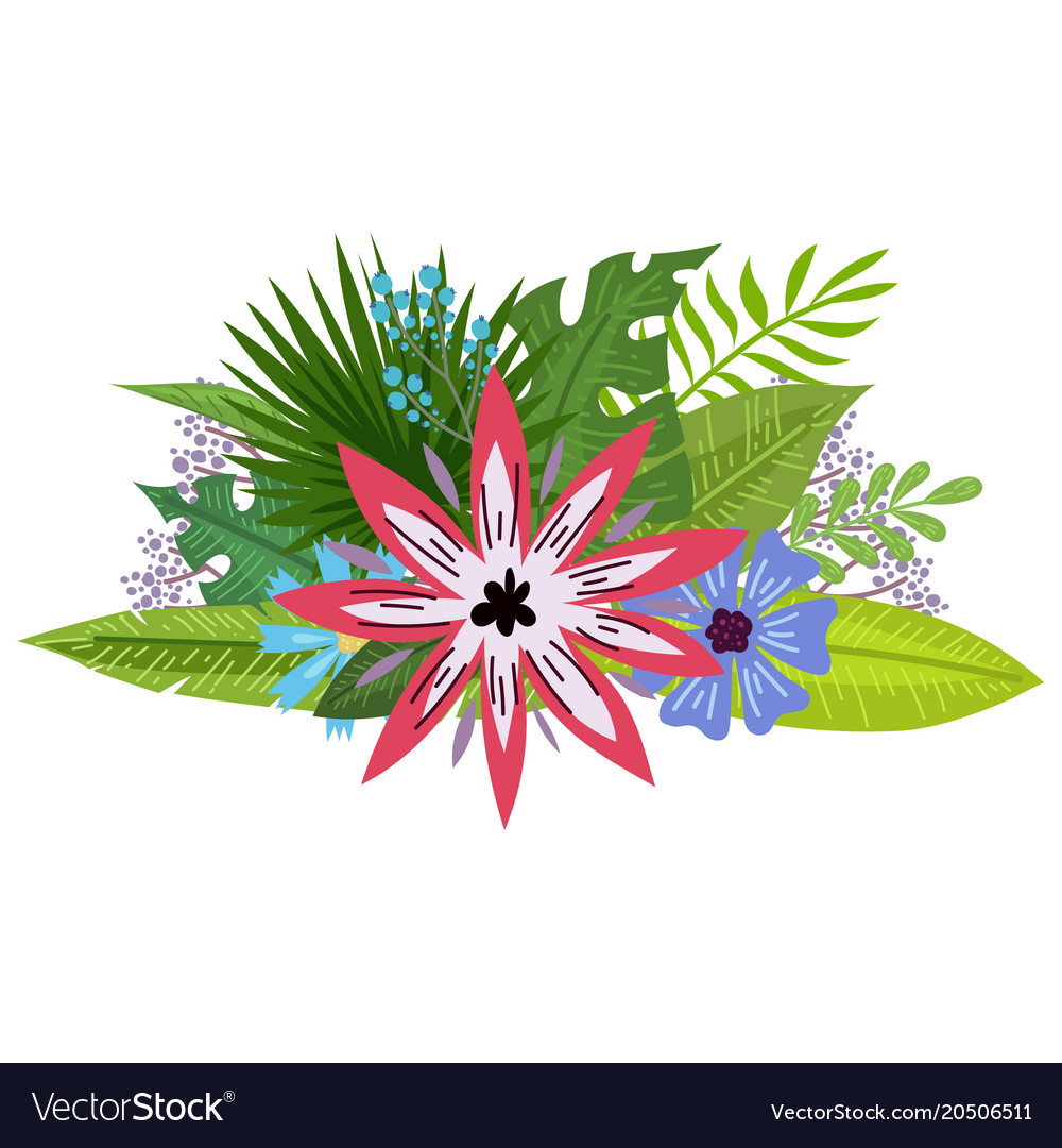 Tropical flowers bouquet royalty free vector image tropical flowers bouquet vector image izmirmasajfo Gallery