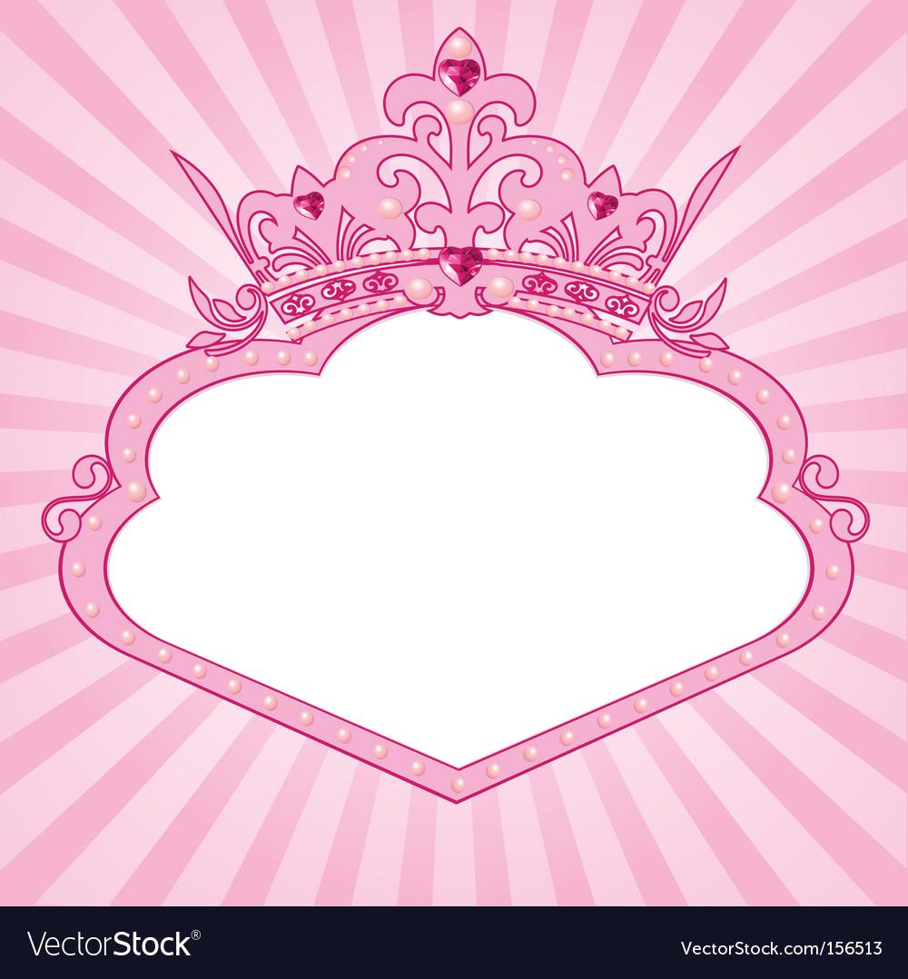 Princess crown frame vector image