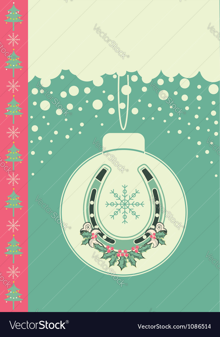 Christmas card on snow background with ball and vector image