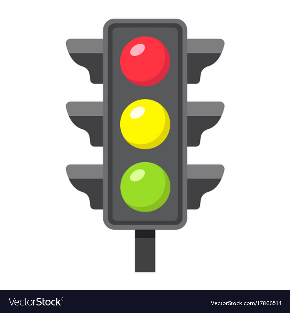 Traffic light flat icon stoplight and navigation Vector Image for Traffic Light Yellow Icon  110ylc