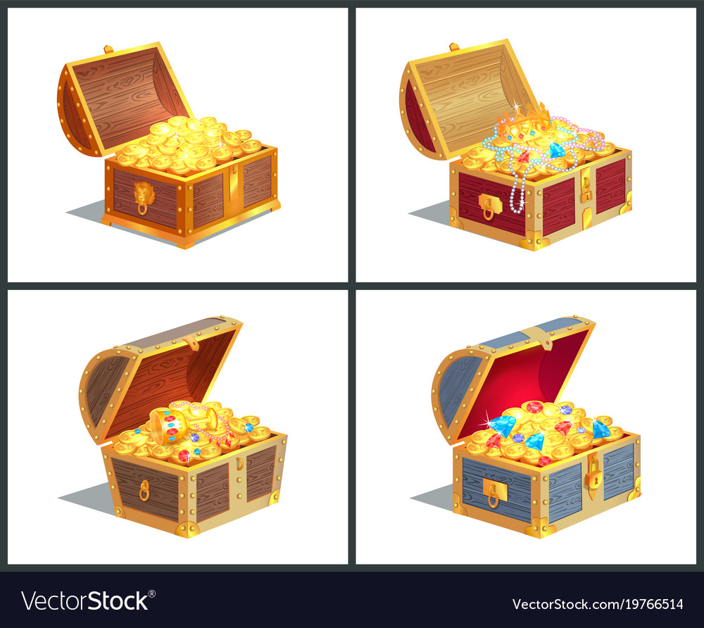 Treasure box poster collection vector image