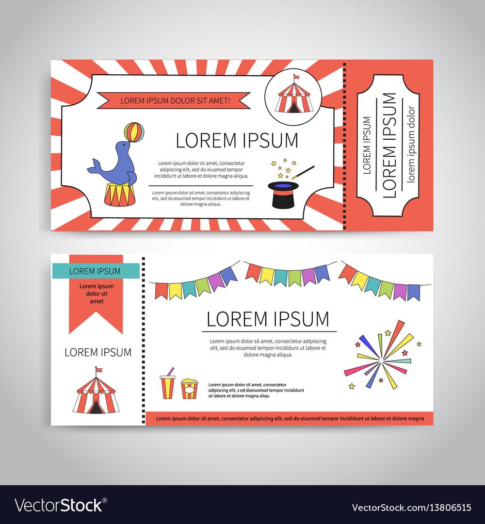 Circus tickets design vector image