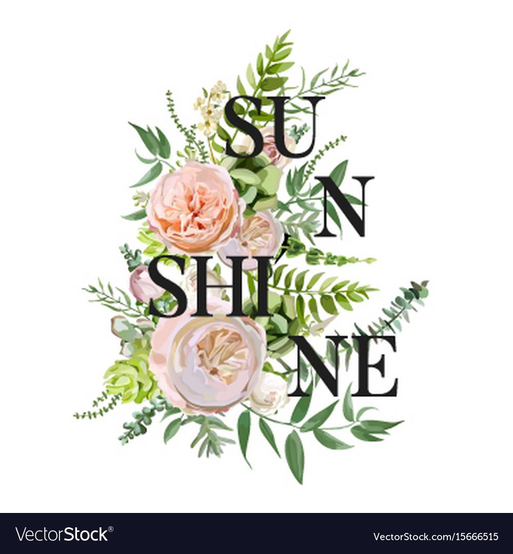 Floral design vertical card succulent cactus vector image