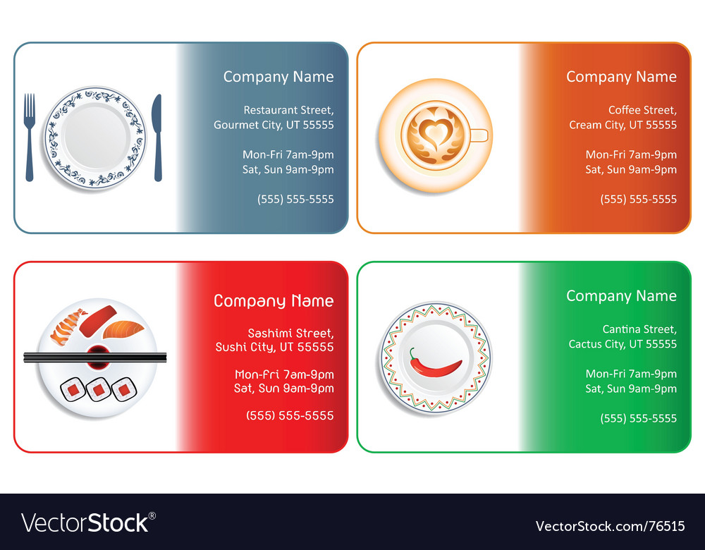 Restaurant business cards Royalty Free Vector Image