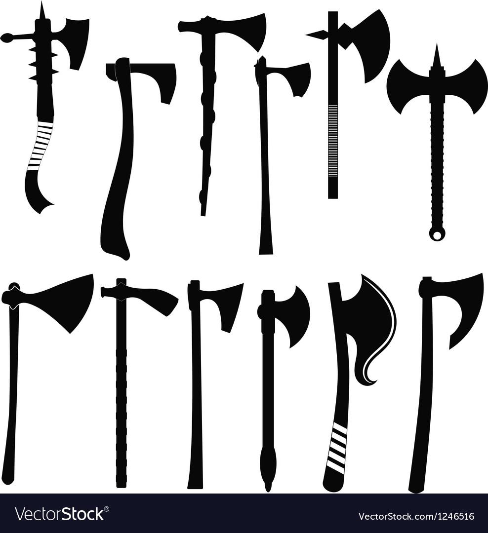 Set battle axes Vector Image