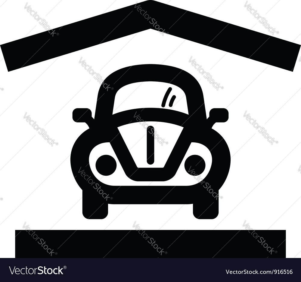 Home garage icon vector image