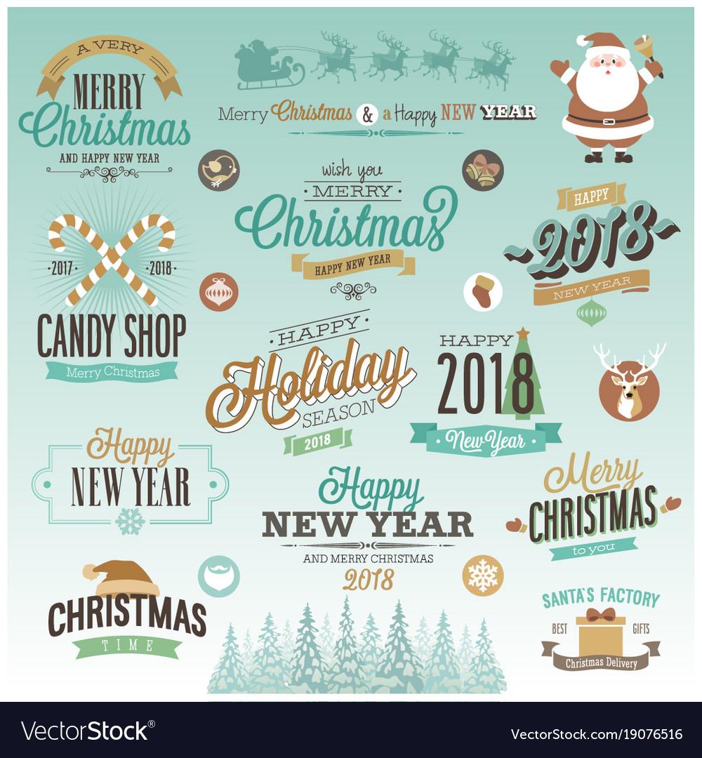 Christmas set - labels vector image