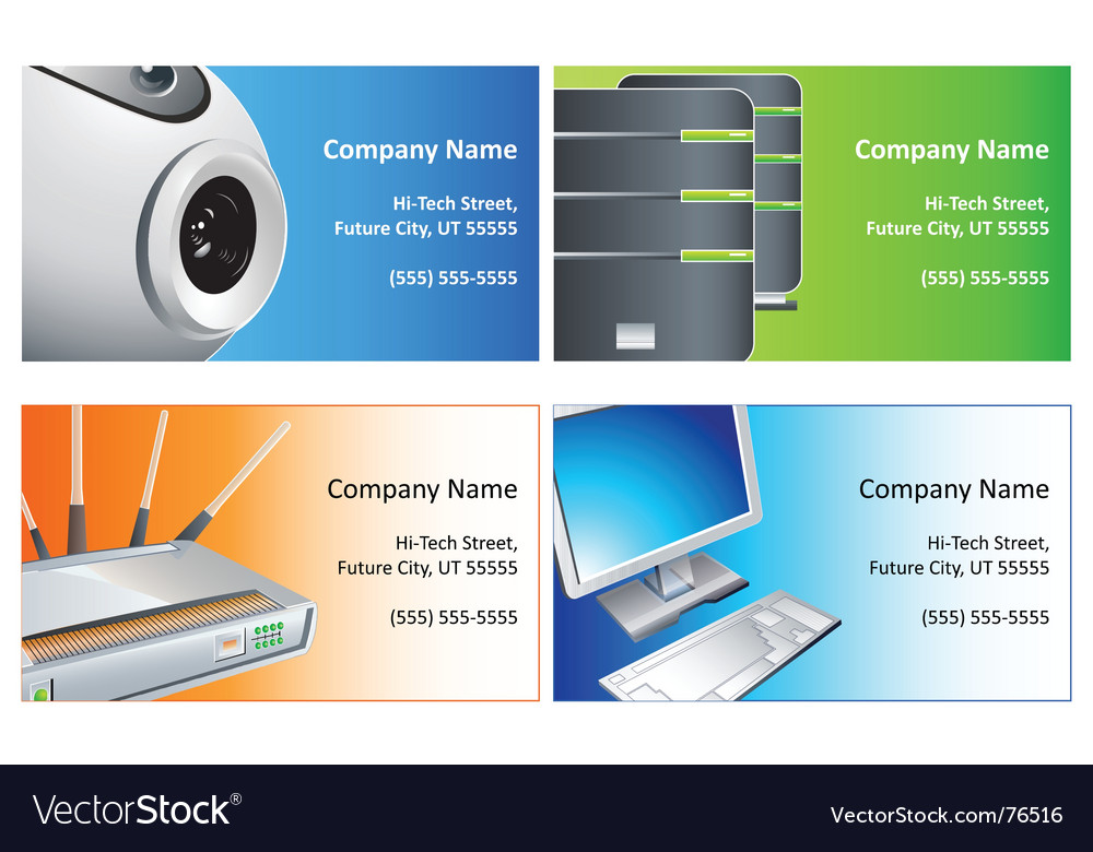 Computer business cards Royalty Free Vector Image