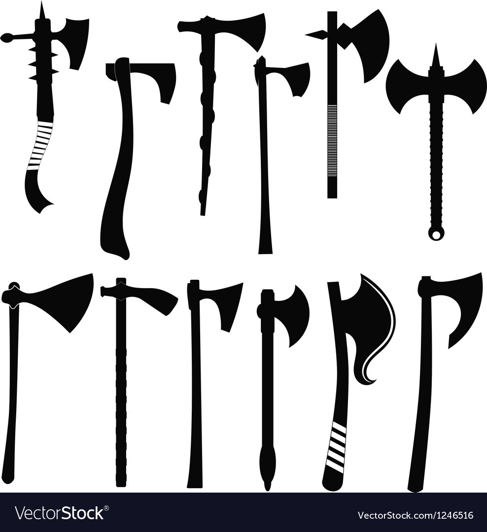 Set battle axes vector image