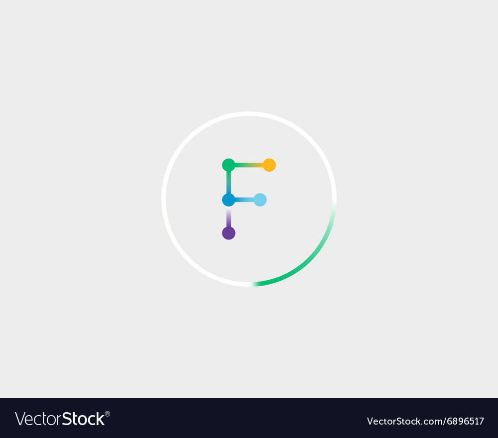 Abstract letter F logo design template Colorful vector image