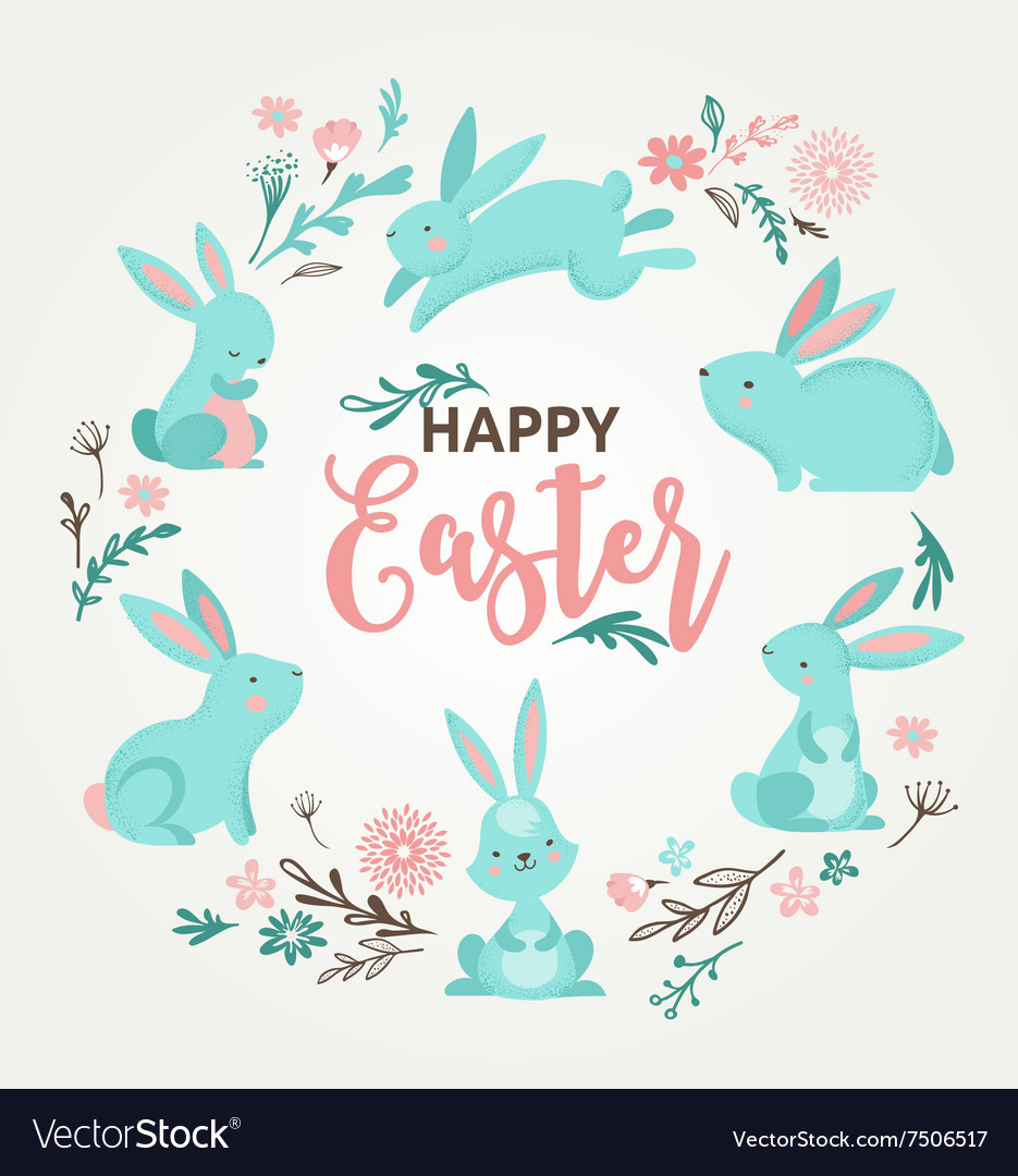 Easter design with cute banny and text hand drawn vector image