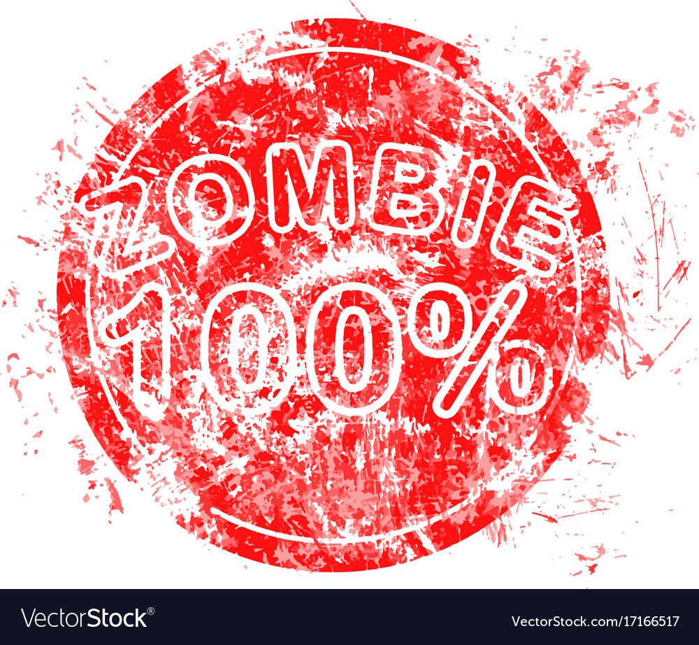 Red grunge circle rubber stamp zombie 100 used vector image