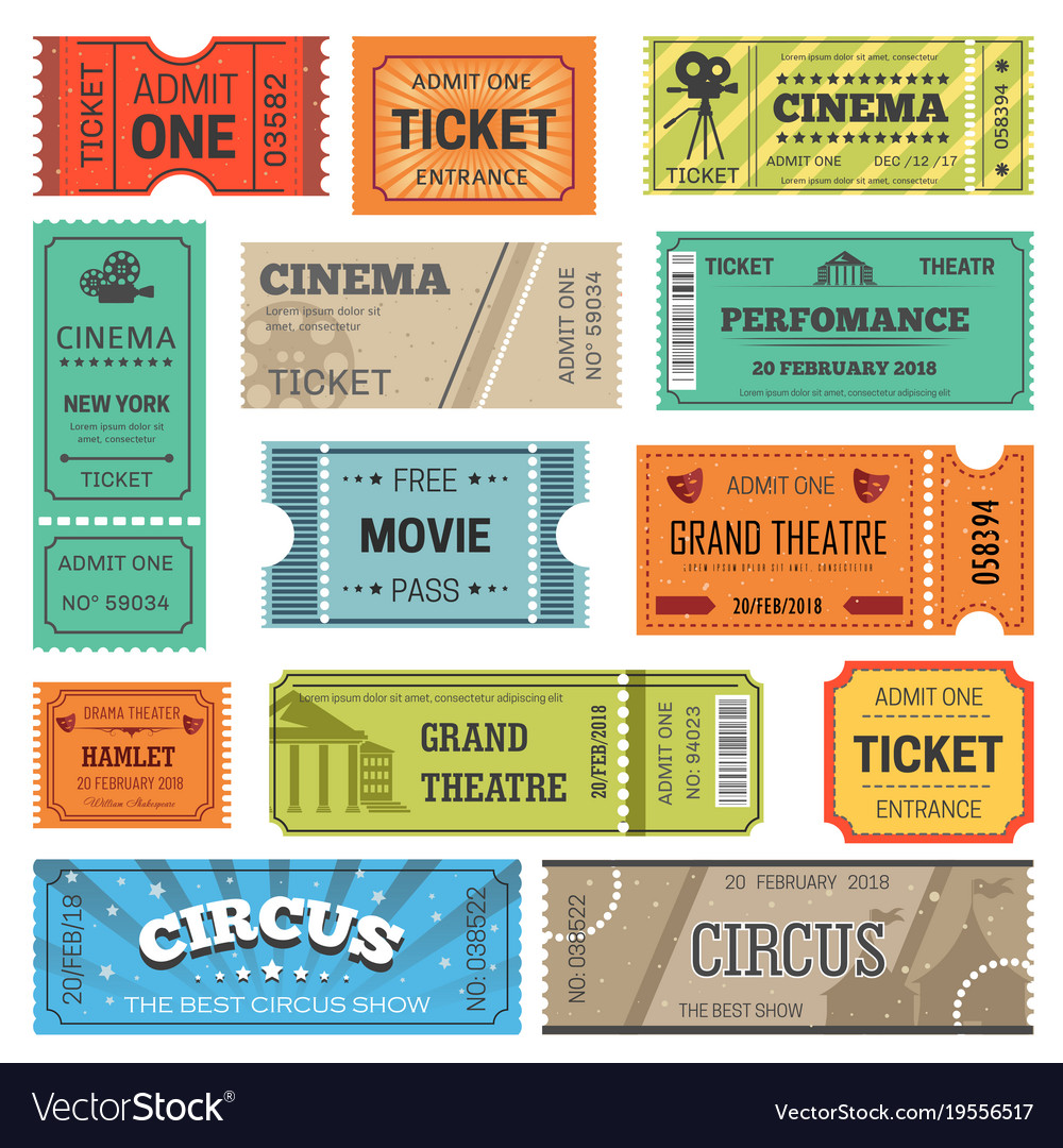 tickets design templates for movie theater vector image