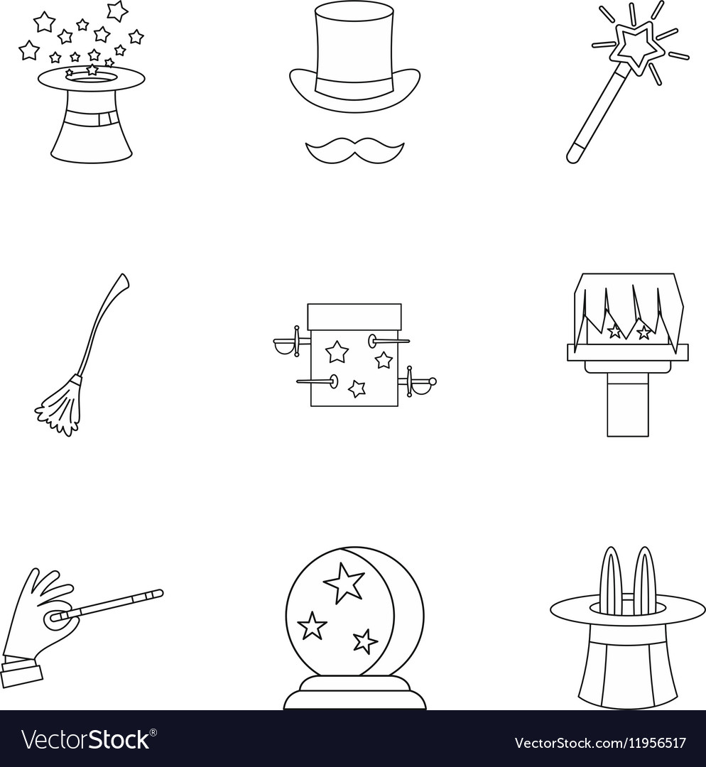 Tricks icons set outline style vector image