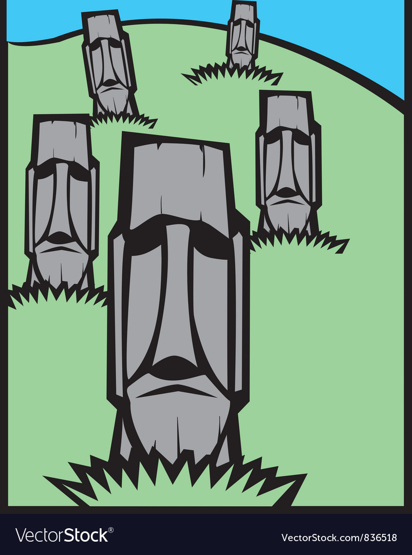 Group of Moai vector image