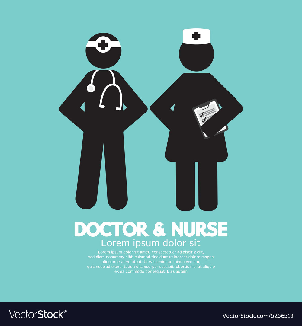 Black Symbol Doctor And Nurse vector image