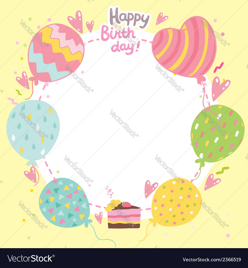 Happy birthday card background with balloons vector image bookmarktalkfo Choice Image
