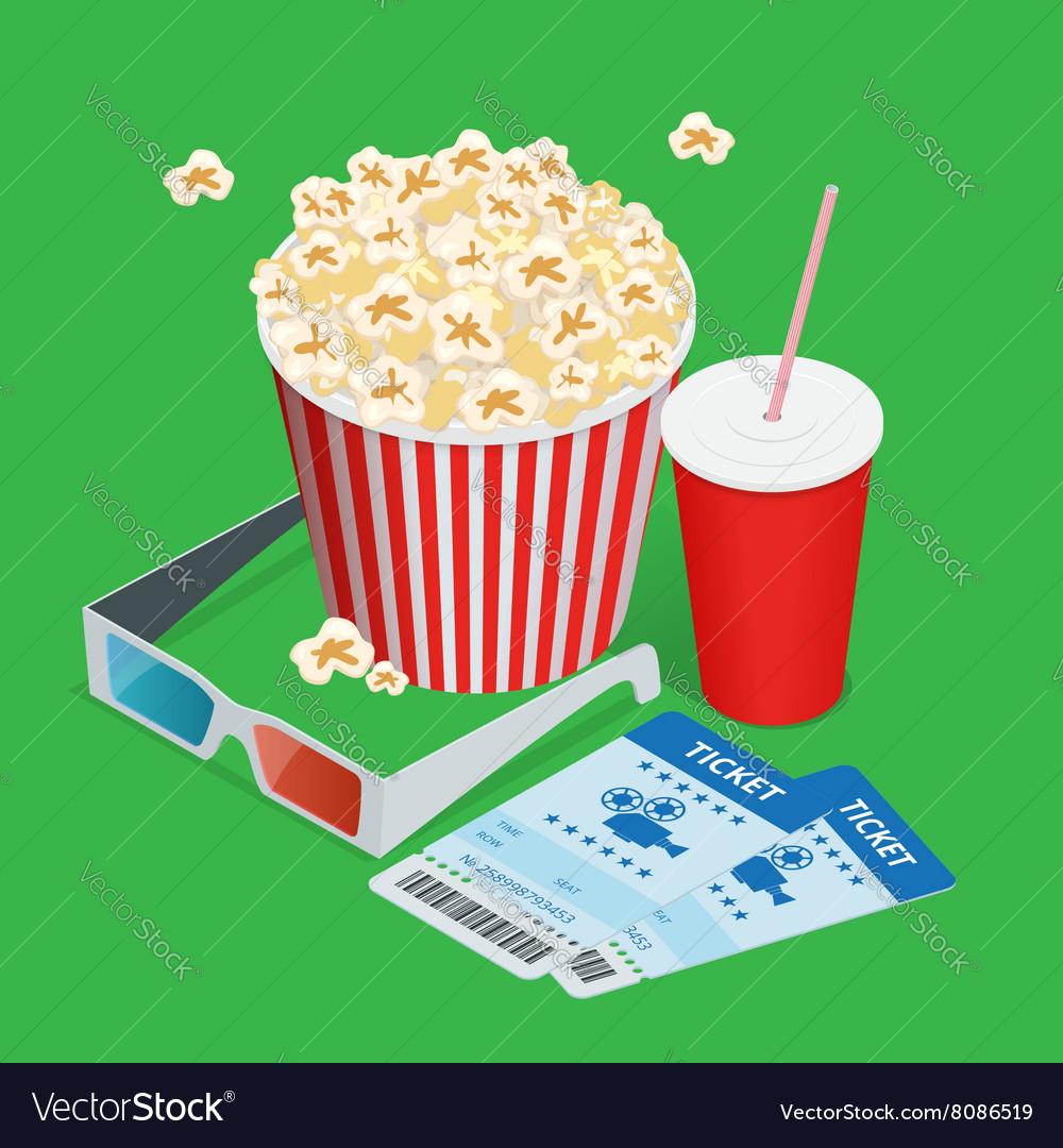 Set popcorn drink 3d glasses realistic vector image