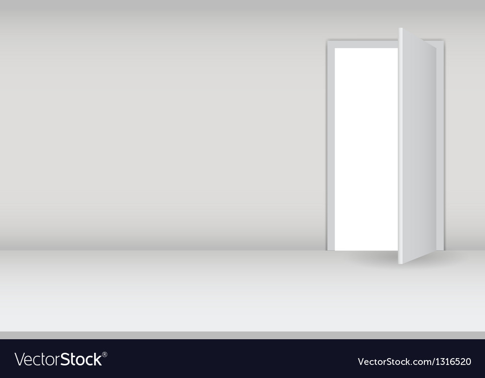 Open white door on a white wall vector image