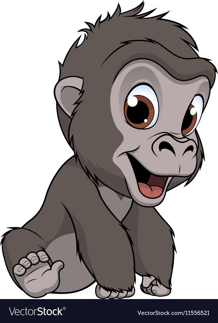 Cute baby gorilla Royalty Free Vector Image - VectorStock