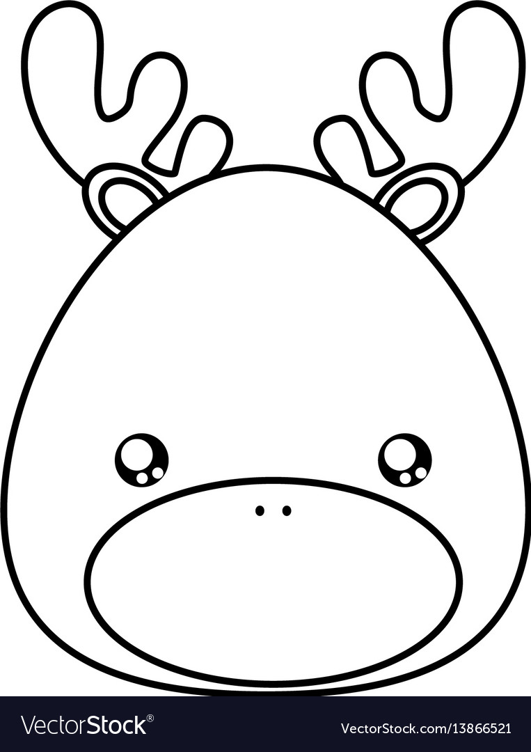 Deer drawing face vector image