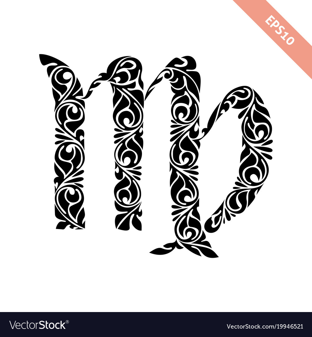 Hand drawn black ornate horoscope symbol virgo vector image buycottarizona Gallery