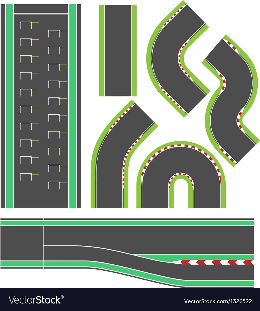 Formula race track line set vector image
