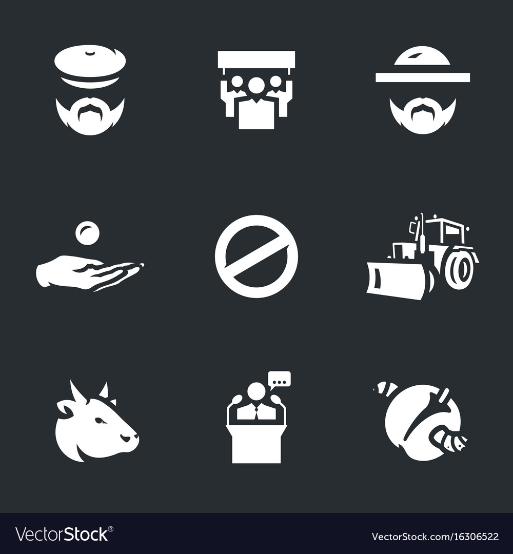 Set of agricultural sanctions icons vector image
