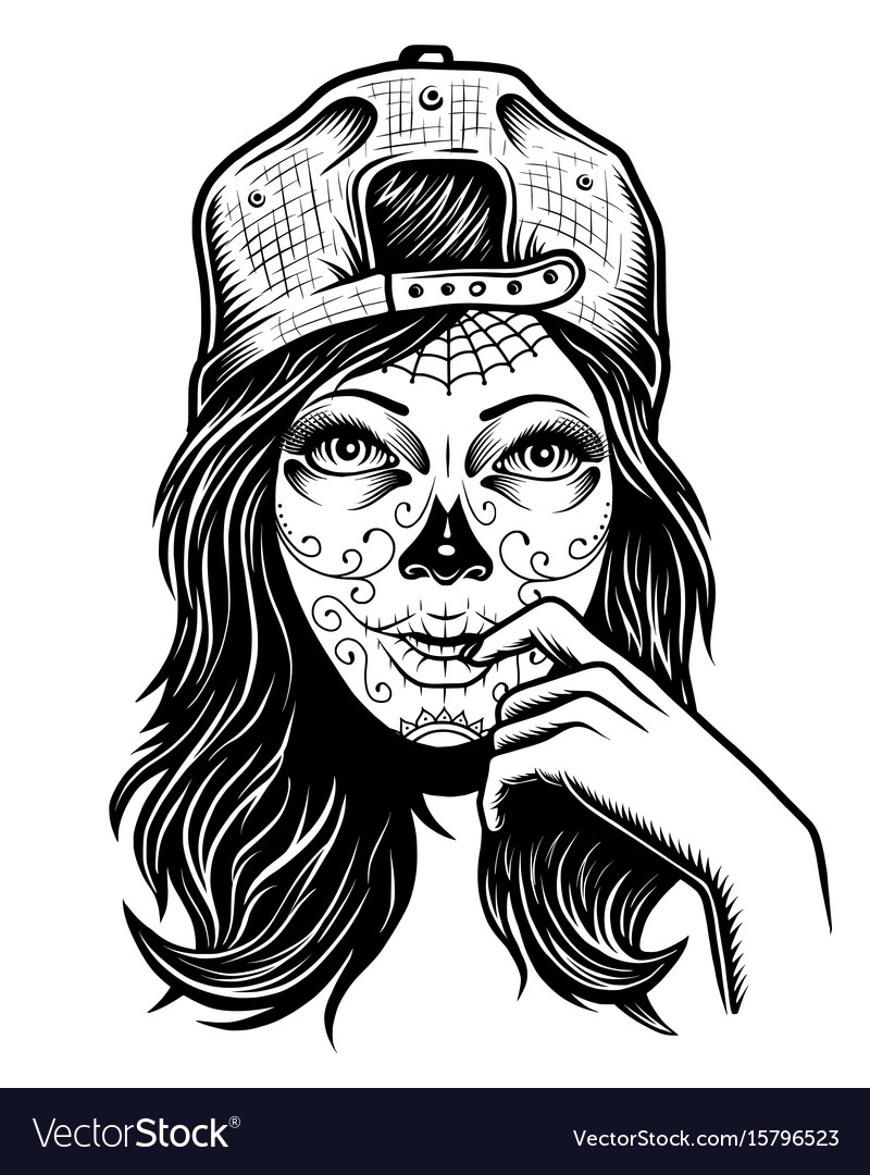 Black and white skull girl with vector image