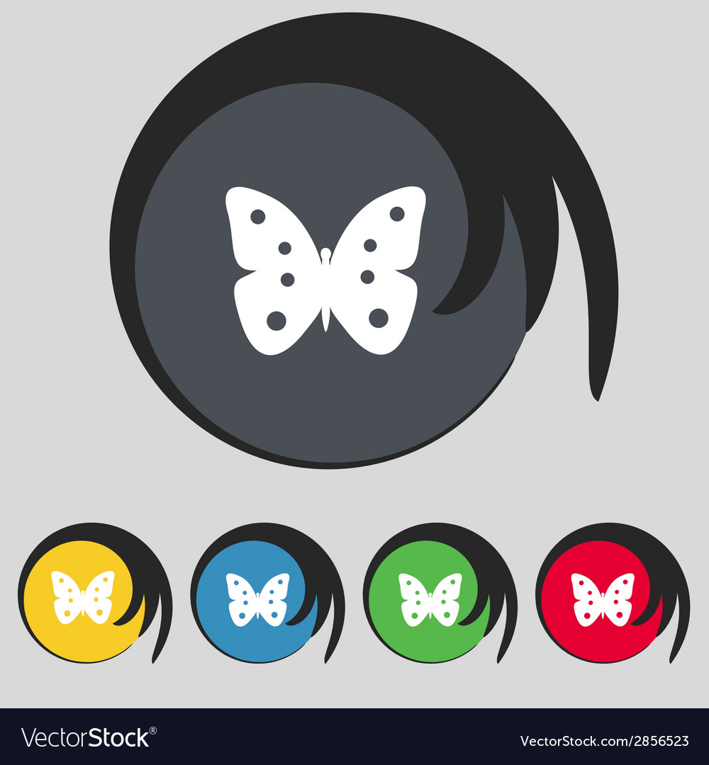 Butterfly sign icon insect symbol set colourful vector image butterfly sign icon insect symbol set colourful vector image biocorpaavc Images
