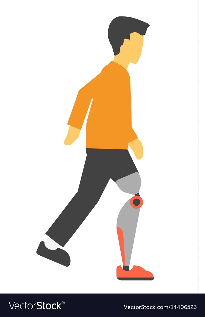 Disabled man with artificial leg vector image