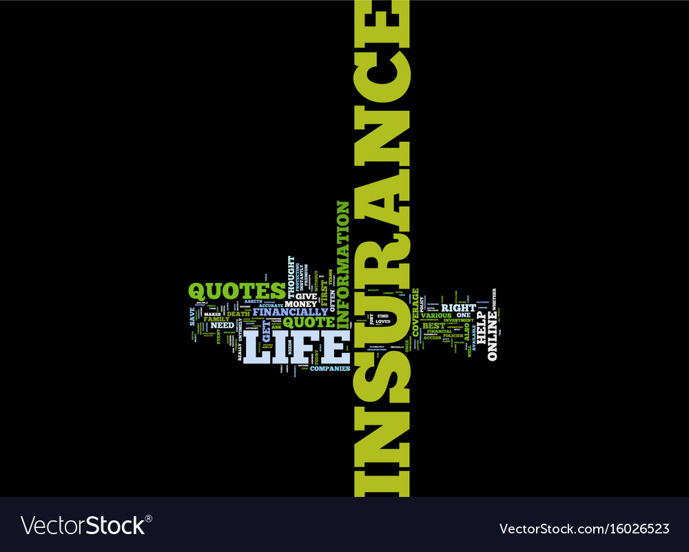 Free Life Insurance Quote Free Life Insurance Quotes Text Background Word Vector Image