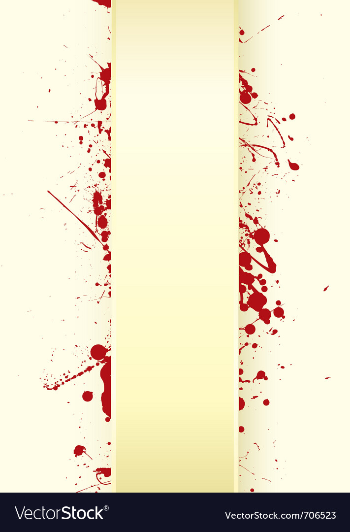 Grunge paper background with curved tab and blood vector image
