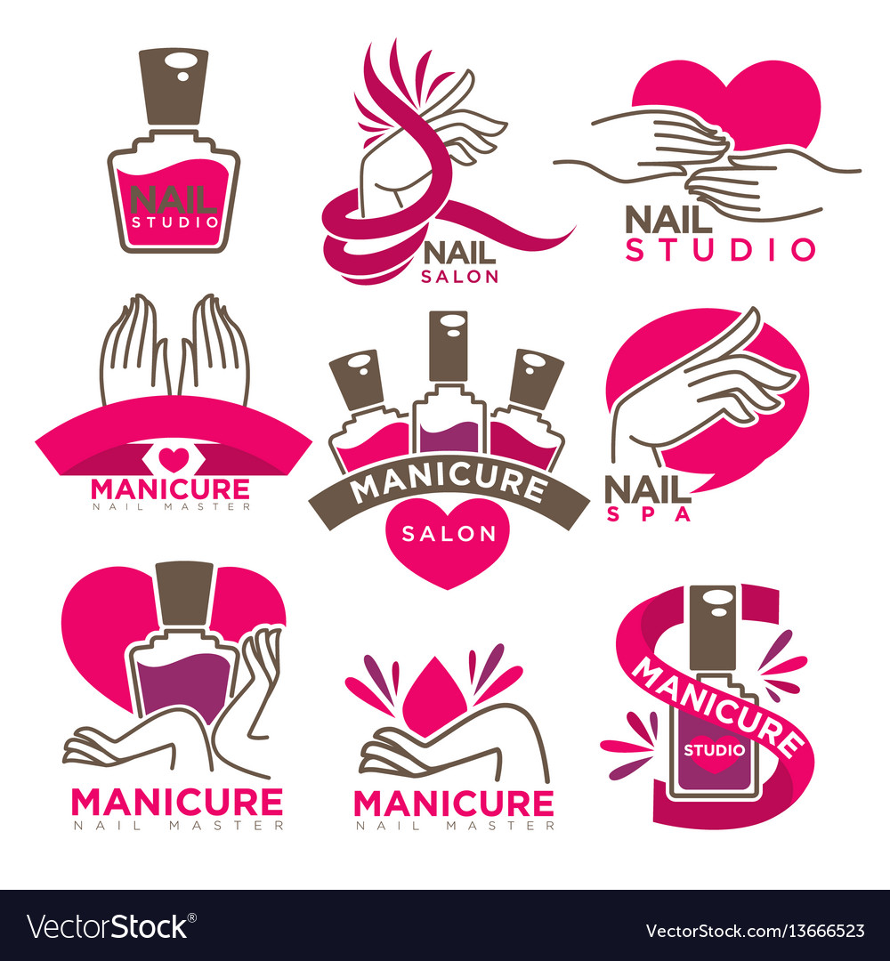 Manicure salon and nails studio flat icons vector image