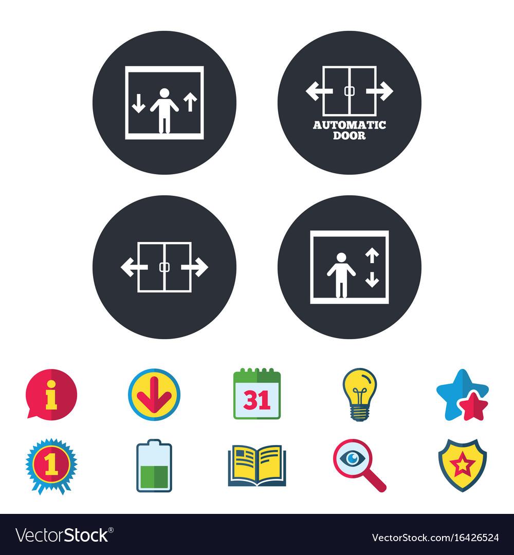 Automatic door icons elevator symbols vector image  sc 1 st  VectorStock & Automatic door icons elevator symbols Royalty Free Vector